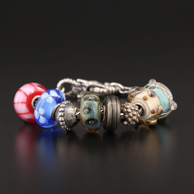 Trollbeads Sterling Silver Murano Glass with Elephant Double Clasp
