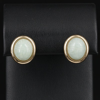 14K Yellow Gold Jadeite Scarab Button Earrings