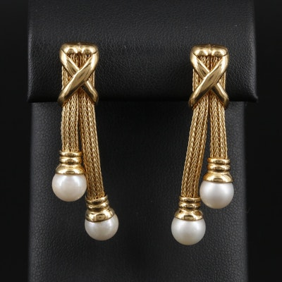 18K Yellow Gold Pearl Drop Earrings