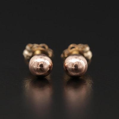14K Rose Gold Small Ball Stud Earrings