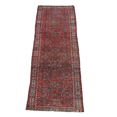 3'7 x 9'8 Hand-Knotted Persian Senneh Wool Long Rug