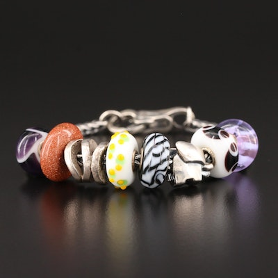 Trollbeads Sterling Silver Murano Glass Bracelet with Double Clasp