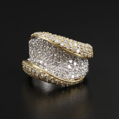 Platinum 3.09 CTW Diamond Ring with 18K Yellow Gold Accent