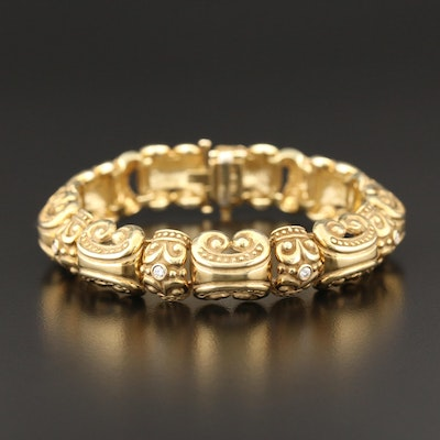 14K Yellow Gold Diamond Bracelet with Scrolled Motif
