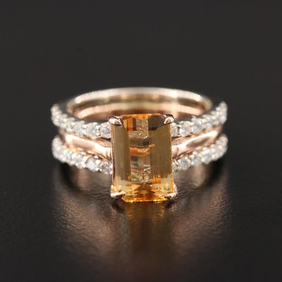 14K Rose and White Gold Citrine and Diamond Ring