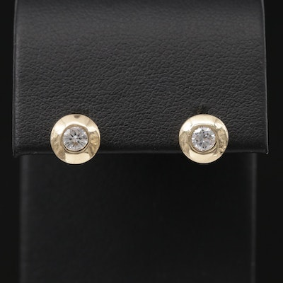 14K Yellow Gold 0.36 CTW Diamond Bezel Stud Earrings