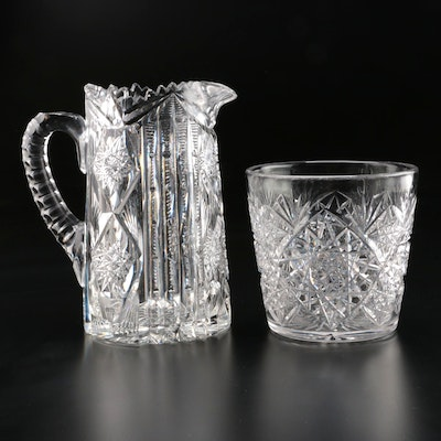 Libby American Brilliant Cut Glass Pitcher and Cut Glass Ice Bucket