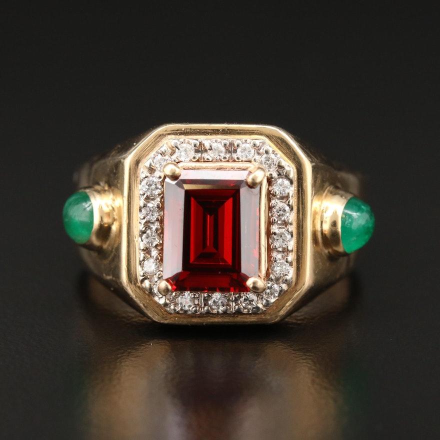 14K Yellow Gold Cubic Zirconia, Emerald and Diamond Ring