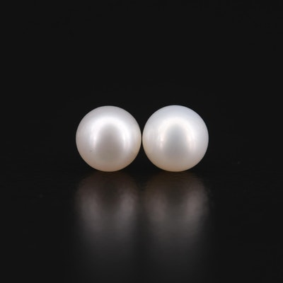 18K Yellow Gold Pearl Stud Earrings