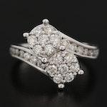 14K White Gold 1.00 CTW Diamond Cluster Bypass Ring