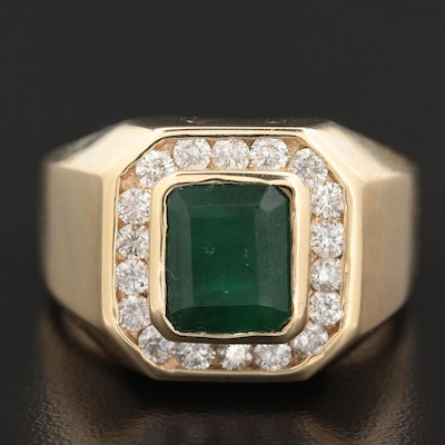 14K Yellow Gold 3.46 CT Emerald and Diamond Ring