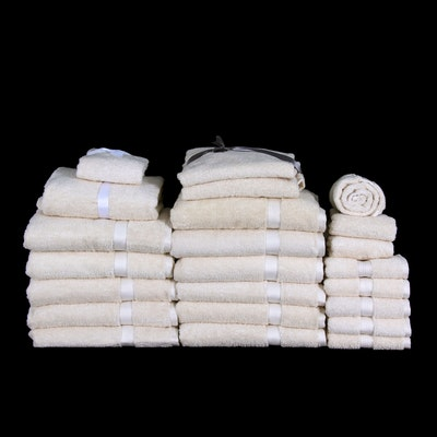 Plush Cotton Bath and Hand Towels in Ivory