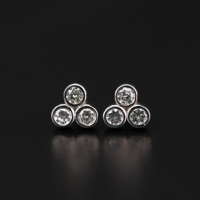 14K White Gold Diamond Bezel Set Stud Earrings