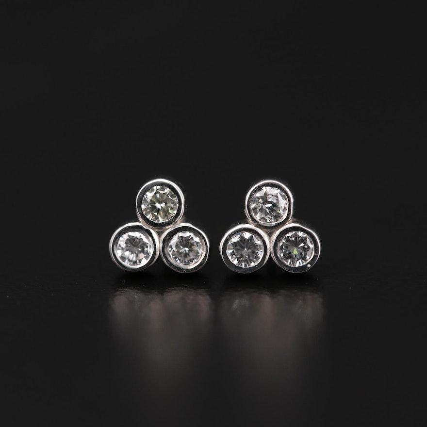 14K White Gold Diamond Bezel Set Stud Earrings