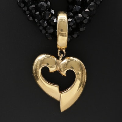 Givenchy Faceted Glass Torsade Necklace with Heart Pendant