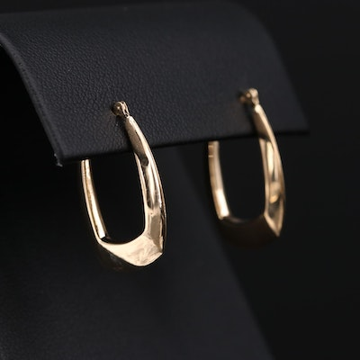 14K Yellow Gold Square Hoop Earrings