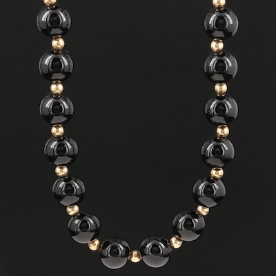 14K Yellow Gold Black Onyx Endless Strand Necklace