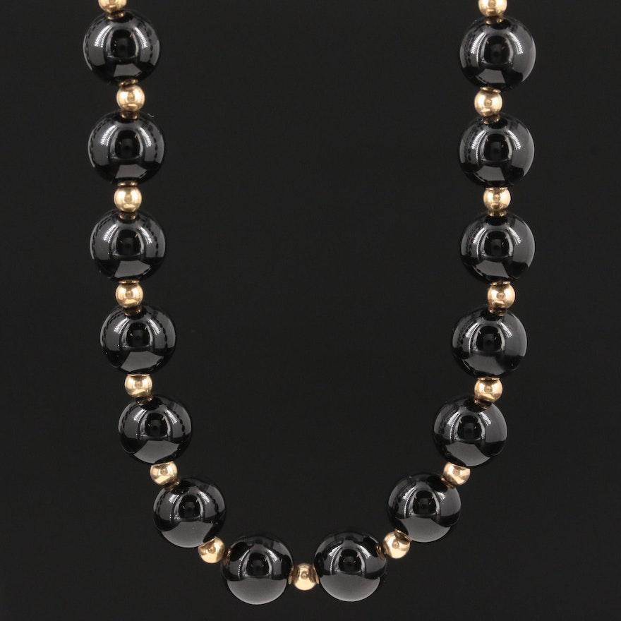 14K Yellow Gold Black Onyx Endless Strand Necklace