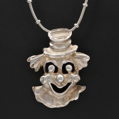 Sterling Silver Happy Clown Pendant Necklace
