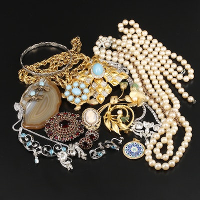 Vintage Jewelry Including Millefiori Glass, Agate, Pearl and Alpaca Mexico
