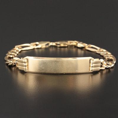 14K Yellow Gold Figaro Chain Identification Bracelet