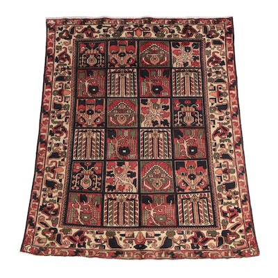 5'0 x 6' Hand-Knotted Bakhtiari Wool Area Rug