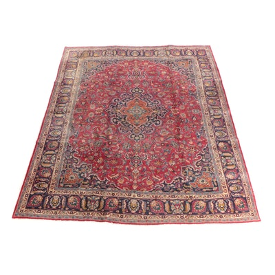 9'6 x 12'7 Hand-Knotted Persian Kerman Wool Room Sized Rug