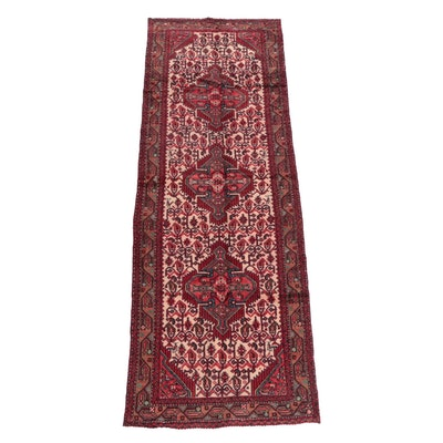 3'2 x 9'7 Hand-Knotted Persian Senneh Bijar Wool Carpet Runner