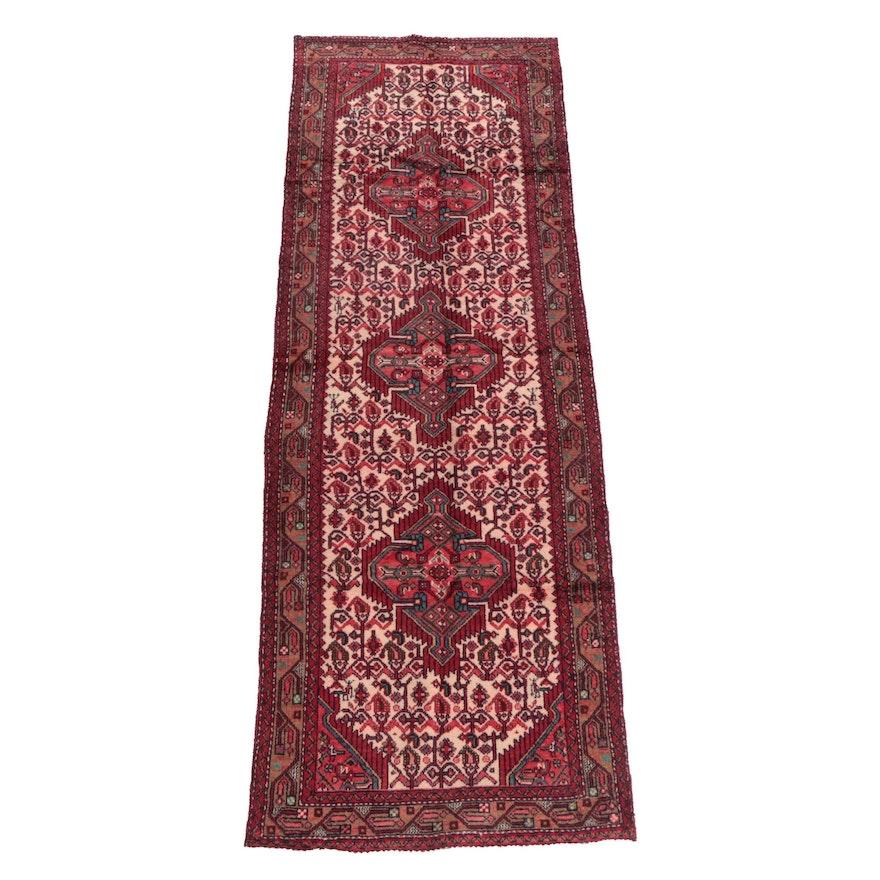 3'2 x 9'7 Hand-Knotted Persian Senneh Bijar Wool Carpet Runner