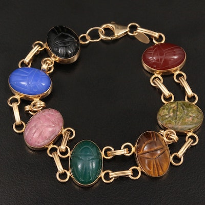 14K Yellow Gold Gemstone Scarab Bracelet Including Black Onyx and More