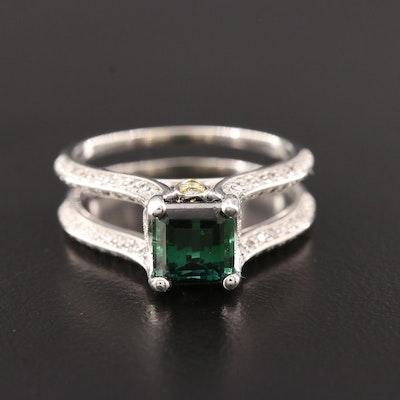 Simon G. 18K White Gold Tourmaline and Diamond Ring