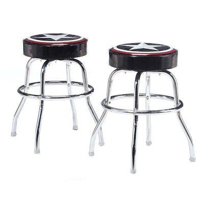 Pair of Chrome Counter Stools, 21st Century