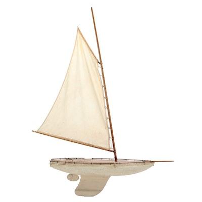 Handcrafted Model Sailboat, Vintage