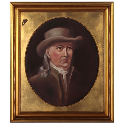 Portrait Oil Painting of Stephen Hopkins after John Trumbull, Late 20th Century