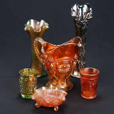Northwood and Other Carnival Glass Table Accessories and Vases