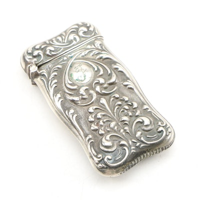 Sterling Silver Baroque Style Engraved Vesta Case, Late 19th/Early 20th Century