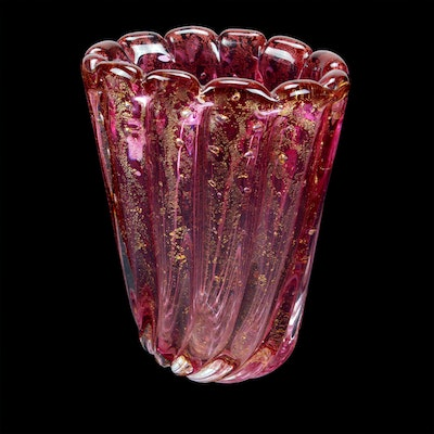 Murano Cased Glass Fluted Vase, Mid to Late 20th Century