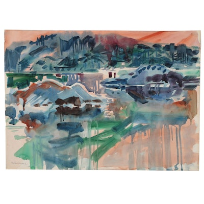 Jack Meanwell Abstract Landscape Watercolor Painting