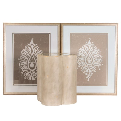 Resin Side Table with Mirrored Surface and Giclée Prints of Stylized Foliage