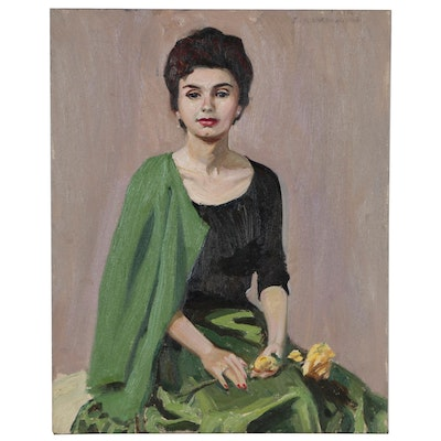Edmond J. Fitzgerald Oil Portrait of Stylish Woman