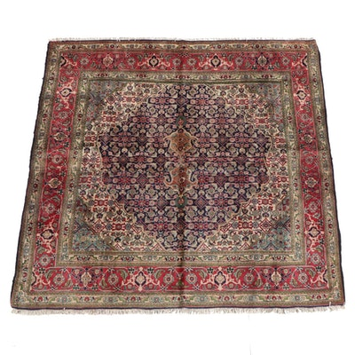 6'7 x6'8 Hand-Knotted Persian Hamadan Wool Rug