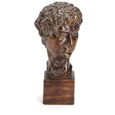 "Cast Plaster Bust Portrait after Michelangelo ""David"""