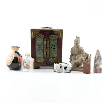 Chinese Style Jewelry Box, Bottles, Figurines and Stone Seals