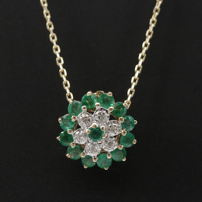 10K Yellow Gold Emerald and Diamond Pendant with Sterling Silver Necklace