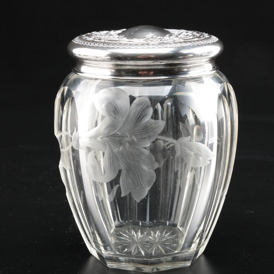 Alvin Manufacturing Co. Sterling Silver Lidded Etched Jar