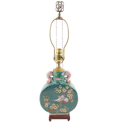 Asian Lotus Painted Porcelain Moon Flask Table Lamp, Vintage