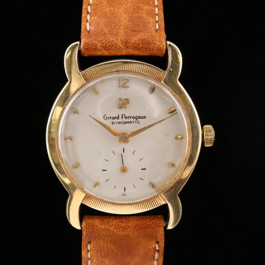 Vintage Girard-Perregaux 14K Gold Horn Lug Stem Wind Wristwatch, 1954