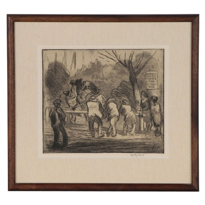 """Pop"" George Overbury Hart Etching with Aquatint of Horse Racing Scene"