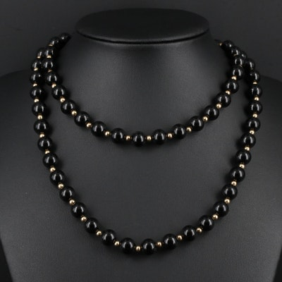 14K Yellow Gold Black Onyx Endless Beaded Necklace