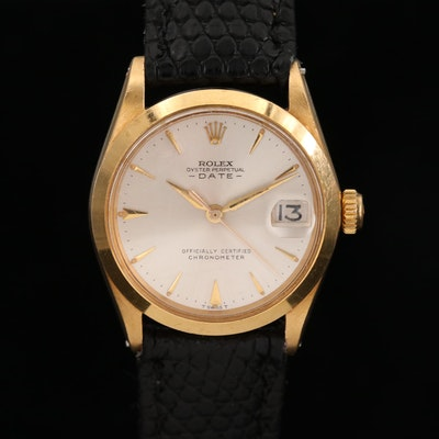 Rolex Date Mid-Size 18K Gold Automatic Wristwatch, 1964